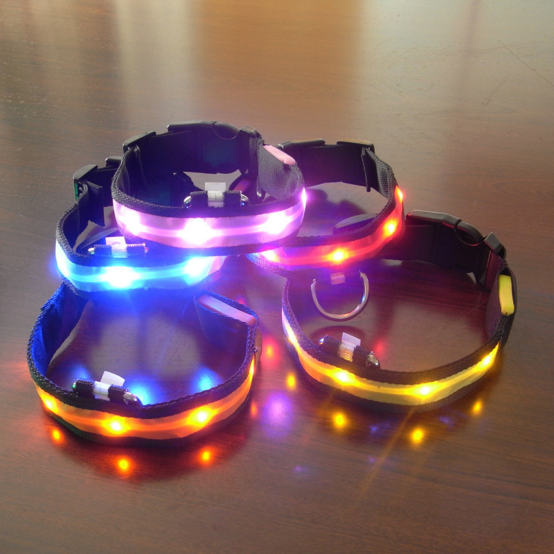 New Style 2.5 Cm Nylon Light Belt LED Pet Collar No Map Shining Dog Neck Ring Reflective Strips Neck Ring