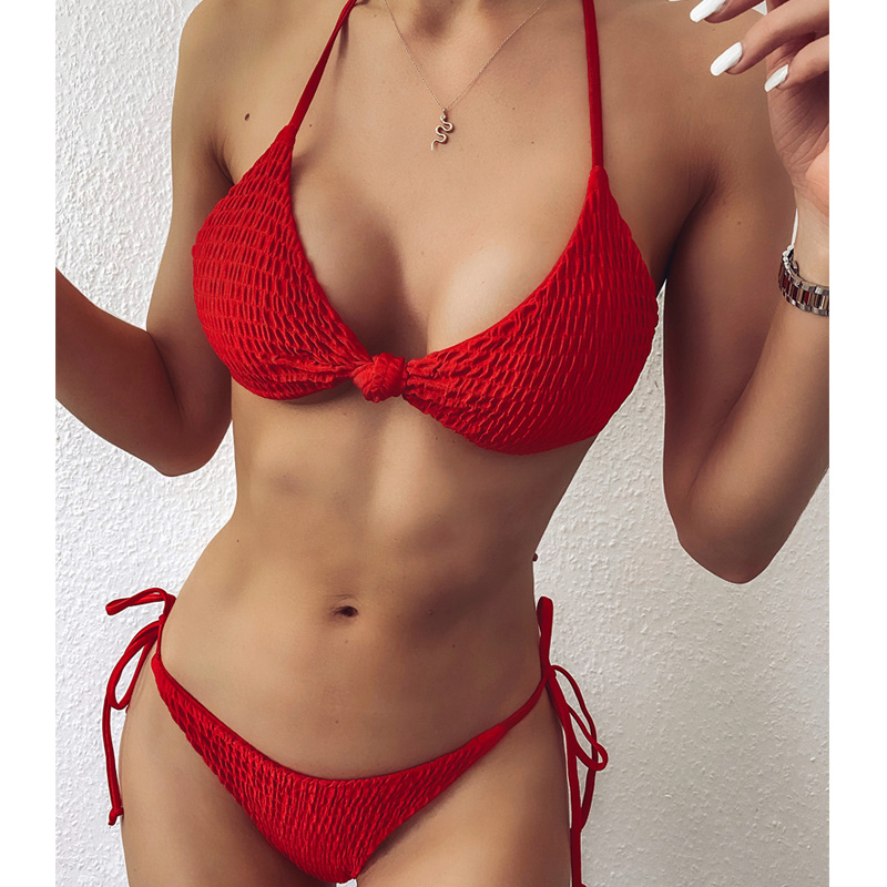 Folds Red Sexy Bikini Set Women String Swimsuit Push Up Swimwear 2020 Tied Thong Brazilian Bikini Bathing Suit Swim Wear