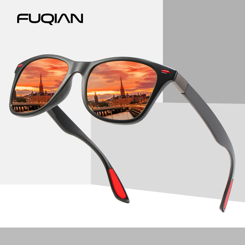 FUQIAN Fashion TR90 Polarized Sunglasses Men Classic Square Women Sun Glasses Ultra Light Unisex Driving Eyewear UV400