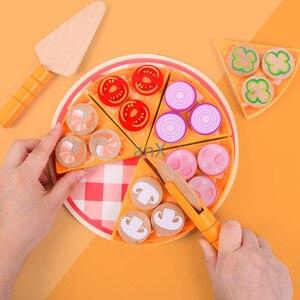Image 3 - 27 sztuk Pizza drewniane zabawki jedzenie gotowanie symulacja zastawa stołowa dzieci kuchnia udawaj zagraj w zabawkę owoce warzywa z zastawą stołową