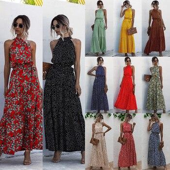 Maxi Dresses For Women 2020 Summer Dot & Floral Print Boho Halter Long Dress Evening Party Beach Dress Sundress Vestidos spot print knot back halter dress