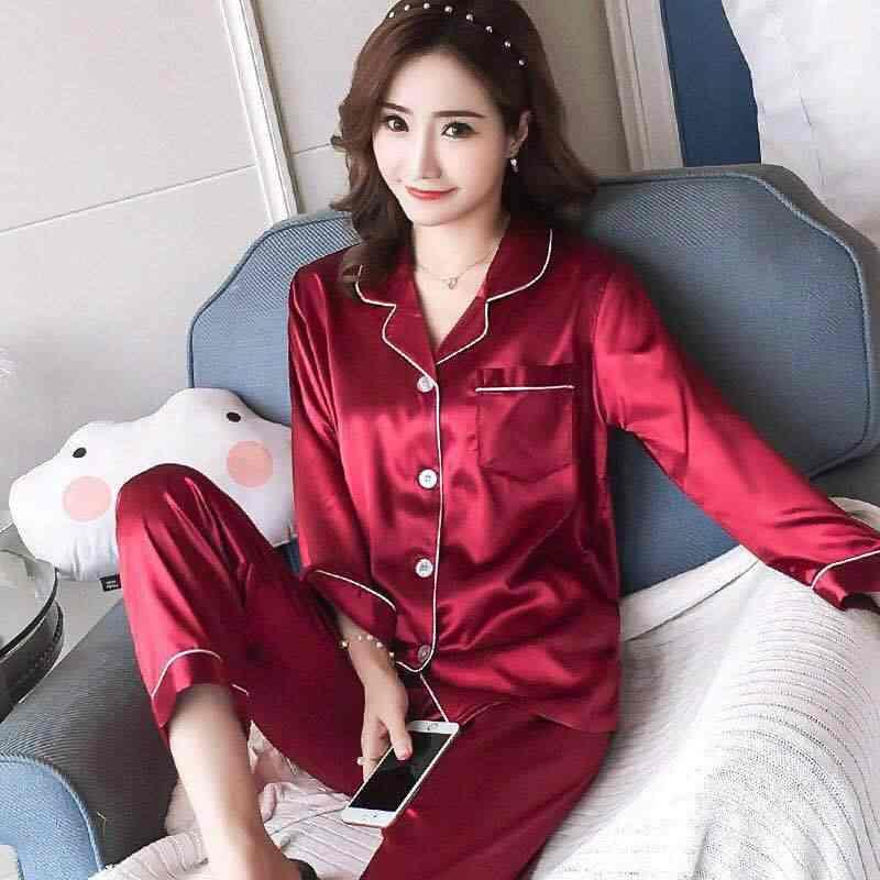 여자의 새틴 잠옷 세트 긴 소매와 긴 단추 다운 잠 옷 loungewear M-5XL