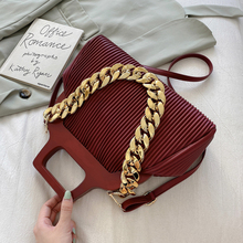 LNV Thick Chain Small PU Leather Shoulder Crossbody Bags With Short Handle For Women 2021 Winter Luxury Simple Lady Handbags