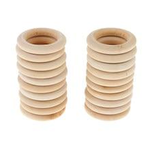 Anneaux de dentition en bois naturel, 40 pièces, bricolage, connecteurs de bijoux, cercle