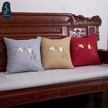 Декоративный льняной Чехол подушка с вышивкой
