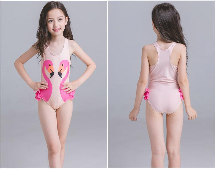 INS Hot Selling 2018 New Style Black Swan Flamingo Parrot Children Girls Baby One-piece Swimming Suit