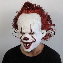 Film to rozdział dwa Pennywise światła LED maska Cosplay straszny klaun maski do włosów rekwizyt halloweenowy