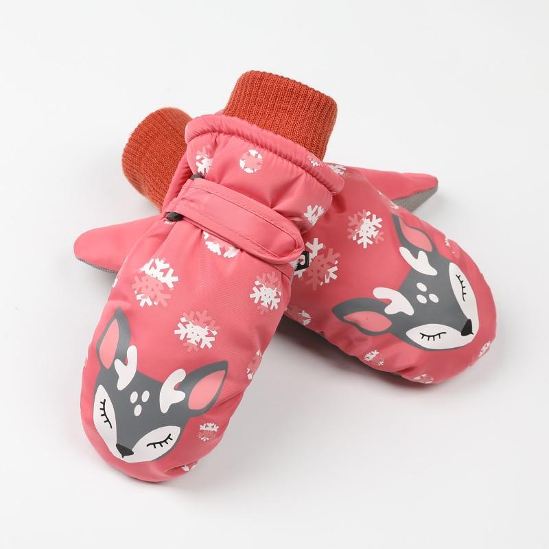 Детские зимние теплые лыжные перчатки для мальчиков и девочек, спортивные водонепроницаемые ветрозащитные Нескользящие зимние варежки, расширенные запястья, перчатки для катания на лыжах, варежки - Цвет: Rose Red
