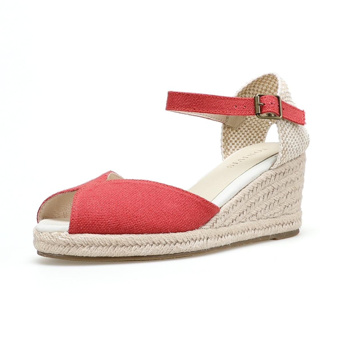 Women's Elastic Ankle Strap Espadrilles Wedge Sandals