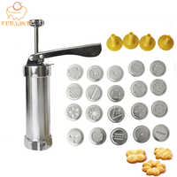 FEBWIND Baking Tools Manual Biscuit Cookie Press Stamps Set Cake Decorating Tools Maker with 4 Nozzles 20 Cookie Molds 063