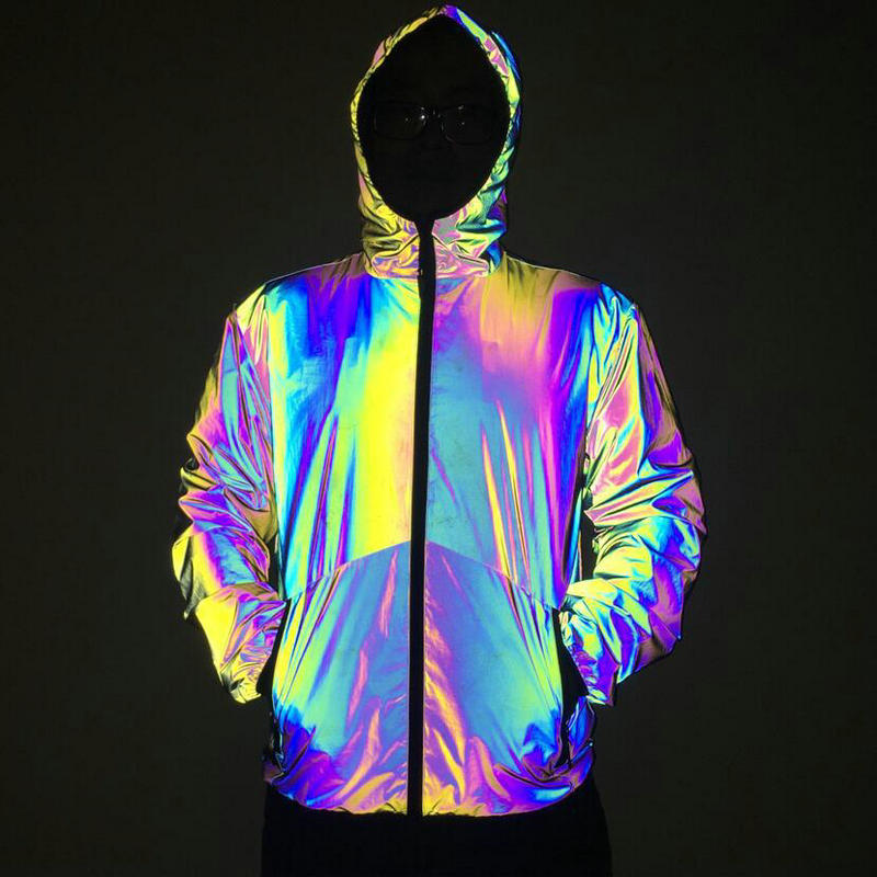 Rainbow Jacket Men Reflective Light Hooded Top Coat Spring Autumn Hip Hop Mens Base Coats Suit Jogger Sweatpants Sport Running