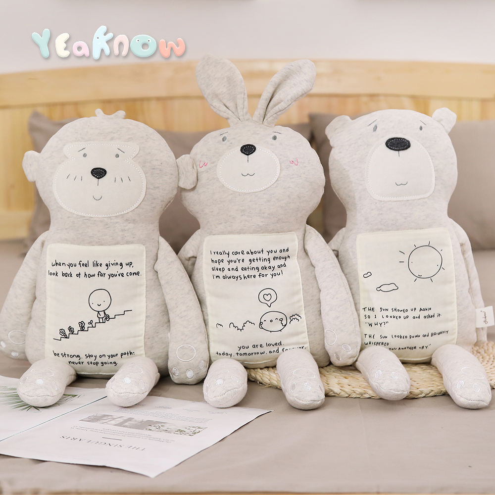 Creative Baby Comfort Toy Stuffed Animal Bear Rabbit Cotton Fabric Soft Toy Sleeping Hug Pillow For Girls