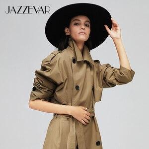 Image 2 - جديد لعام 2020 من jazevar معطف خريفي للنساء من القطن المغسول طويل مزدوج الصدر ملابس فضفاضة عالية الجودة 9013 1