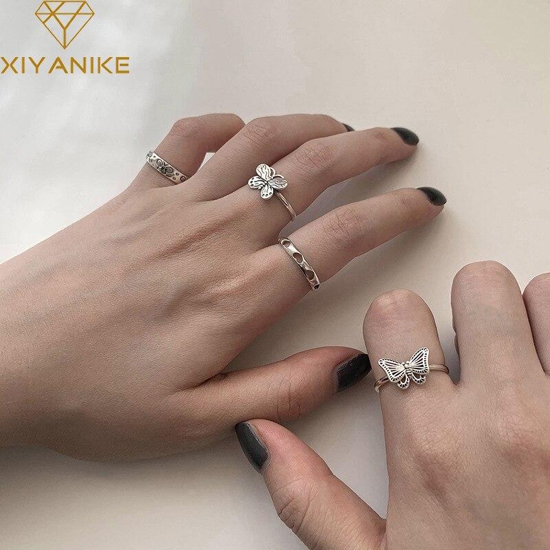 XIYANIKE 925 argent Sterling corée ouvert amour coeur papillon creux anneaux femme tempérament mode rétro à la main tendance cadeaux