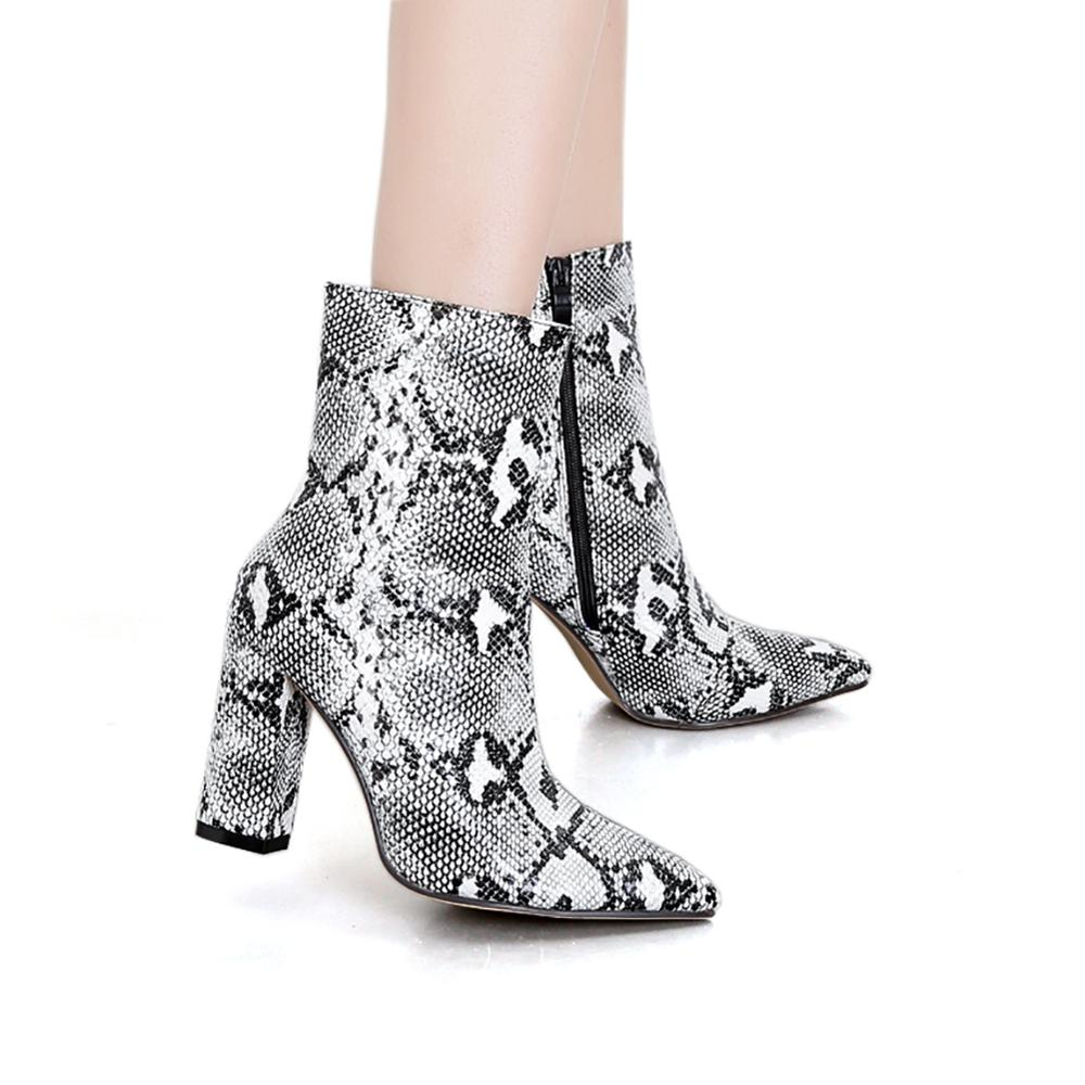 botas Womens plus size Pointed Toe Ankle Snakeskin Boots with High Block square Heels Snake Print Chunky Heel Bootie Shoes 2020