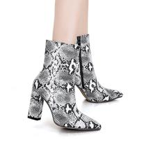 botas Womens plus size Pointed Toe Ankle Snakeskin Boots with High Block square