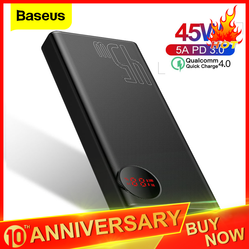Baseus 20000mAh Quick Charge 4.0 3.0 <font><b>Power</b></font> <font><b>Bank</b></font> PD 45W <font><b>20000</b></font> mAh Powerbank 5A External Battery Charger For iPhone Xiaomi Huawei image