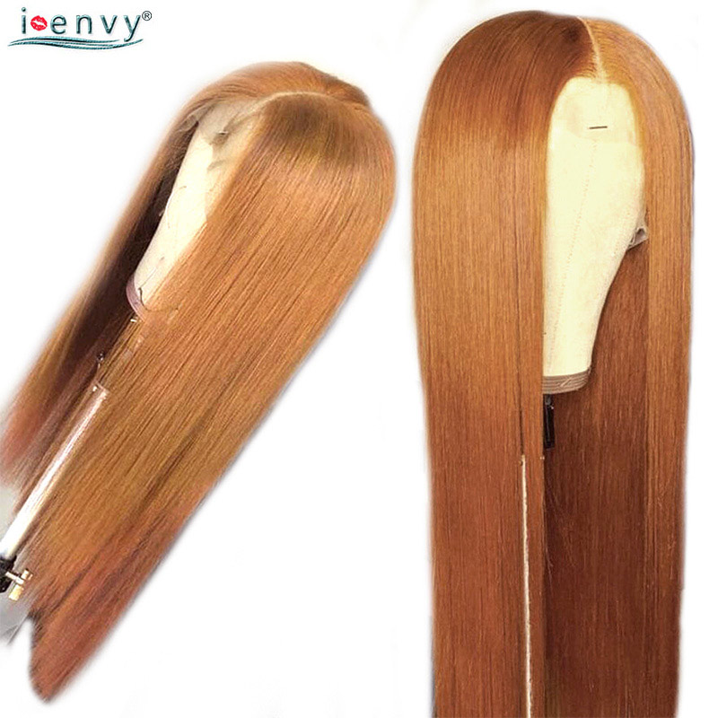 Haae52ad7d6704376881894351da7b02bq #30 Gold Blonde Lace Front Human Hair Wigs Brazilian Straight 13*4 Lace Front Wig PrePlucked Baby Hair Colored Lace Wigs NonRemy