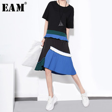 [EAM] 2020 년 봄 여름 라운드 넥 반소매 히트 컬러 플레 티드 불규칙한 스티치 루스 드레스 여성 패션 조수 JR573