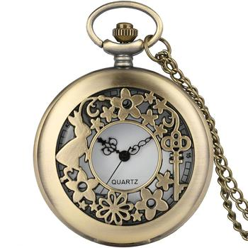 Antique Woman Alice in Wonderland Rabbit Cat Quartz Pocket Watch Flowers Hollow Vintage Fob Watches Bronze Necklace Pendant Gift alice in wonderland necklace fashion bronze chain women rabbit drink me tag quartz pocket watch retro vintage cute gift