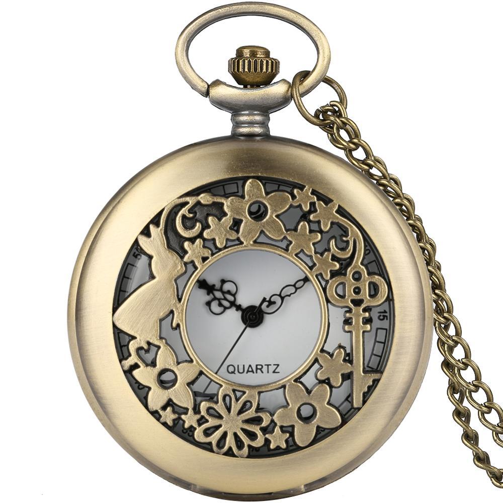 Fashion Quartz Antique Pocket Watch Woman Alice In Wonderland Rabbit Cat Women Vintage Fob Watches Retro New Bronze Necklace