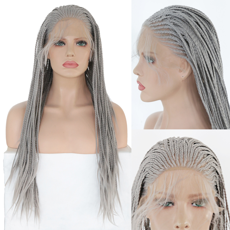 RONGDUOYI Long Heat Resistant Fiber Wigs Synthetic Lace Front Wig Gray Hair Braided Box Braids Wigs For Women With Baby Hair