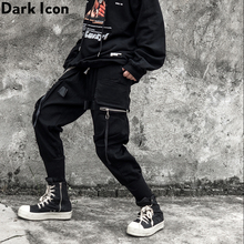 Dark Icon Side Zipper Pockets Cargo Pants Men Hip Hop Jogging New Street Fashion Mens Trousers