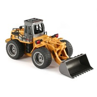HUINA 1520 6CH 1/18 2.4GHz RC Metal Bulldozer RTR Front Loader Engineering Toy Remote Control Construction Tractork Vehicle Toy
