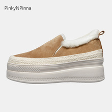 cute women winter casual snow shoes genuine leather cowhide suede sheep wool inside lining platform loafers warm comfortable