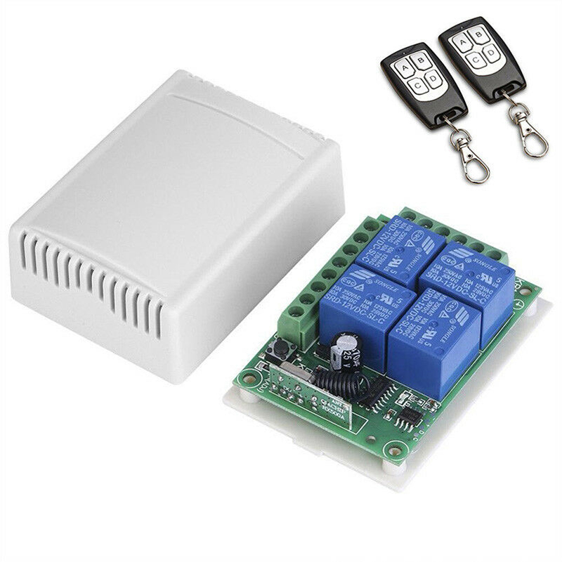 433Mhz Universal Wireless Remote Control Switch DC <font><b>12V</b></font> <font><b>4CH</b></font> <font><b>Relay</b></font> Radio Receiver <font><b>Module</b></font> With 2pcs Remote Control Transmitters image