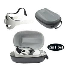 Sac de rangement 2 en 1 pour Oculus Quest 2, sac de rangement en PU, sangle de tête Elite pour un soutien et un confort améliorés en VR, accessoire