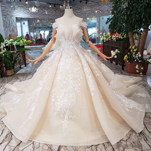 Image 1 - BGW HT42829 Special Wedding Dress Like White Pure New Off The Shoulder Lace Up Back Luxury Wedding Gown 2020 New Fashion Design