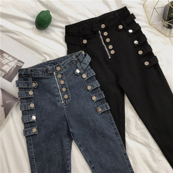 jeans womens design metal buckle tight-fitting feet pencil pants fashion big size loose chic elastic high waist  Skinny High