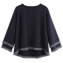 SAGACE Spring And Autumn Women Sweatshirts Off Navy Color Long Sleeve Tiered Fringe Tassel Sweatshirt Jumper Pullover Tops Aug14(China)