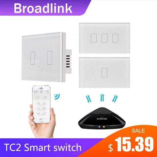Broadlink TC2 1/2/3Gang 433Mhz Verbinding Muur Touch Panel Licht Schakelaar Afstandsbediening Ons Standaard voor Smart Home Systeem 2019New