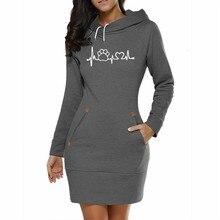 Lange Kleid Hoodies Für Frauen Hund Pfote Briefe Drucken Tops Hoodies Sweatshirt Femmes Sweatshirts Cord Frauen Druck