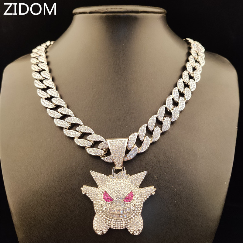 Men/Women Hip hop iced out bling bling Gengar pendant with 15mm width cuban chain Hiphop necklace jewelry fashion gifts