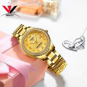 Image 4 - 2020NIBOSI sevgili saati Relogio Feminino kadınlar saatler kuvars erkek saatler Top marka lüks sevgilisi saatler altın kuvars kol