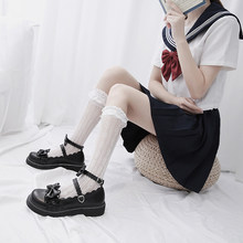 Sweet Lolita shoes kids 2020 new summer Merlot Lolita shoes net red middle heel flat bottom uniform JK shoes(China)