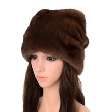 Beanie Hat Wholesale Bonnets Real-Mink-Fur Female Winter Warm Solid Women for New