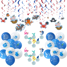 Ocean Animals Themed Decor Set Narwhal Shark Foil Swirl Balloons Cupcake Topper Party Boy Birthday Baby Shower