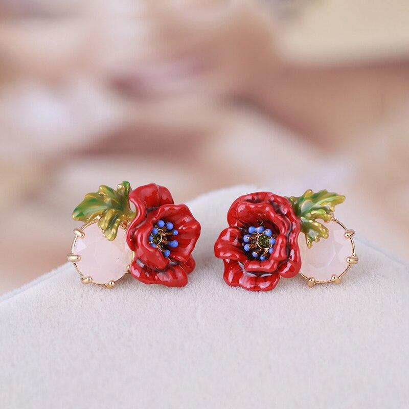 Bijoux en émail faits à la main rétro rouge pavot or boucle d'oreille délicate cristal pierre percé boucle d'oreille S925 argent Post boucles d'oreilles - 4