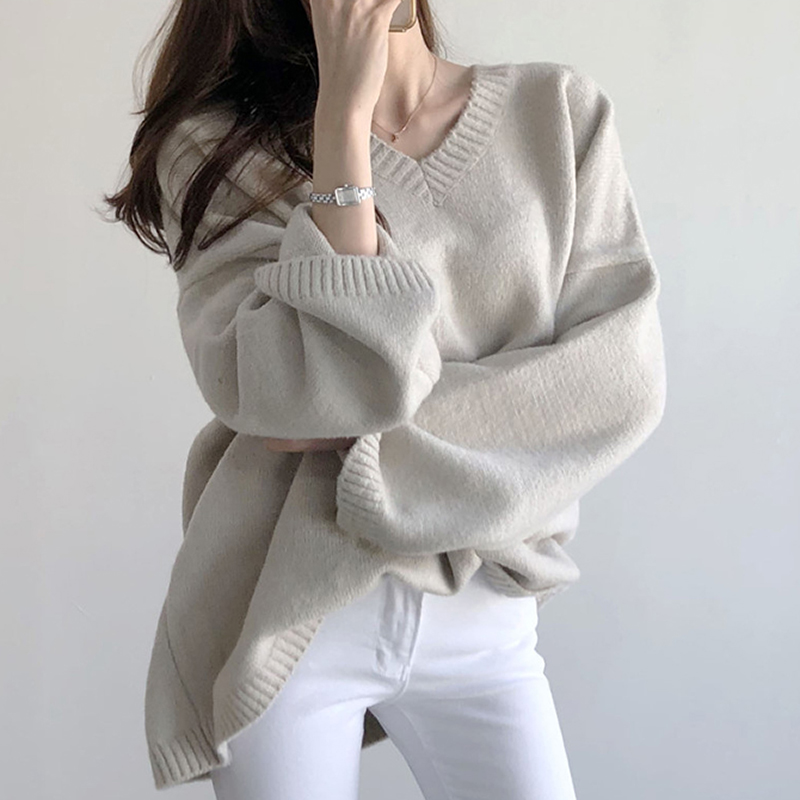 Aachoae Chic V Neck Loose Sweater Women Batwing Long Sleeve Elegant Pullover Jumper Solid Casual Knitted Tops Pull Femme