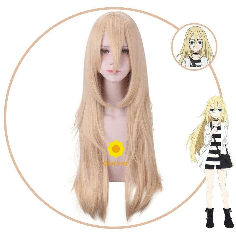 Anjos da morte rachel gardner peruca cosplay longa loira peruca resistente ao calor de fibra de cabelo + peruca boné festa dia das bruxas role play feminino