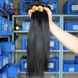 Image 2 - Straight Brazilian Hair Weave Bundles Human Hair Bundles With Closure Hair Extension Ever Beauty Natural Black Virgin