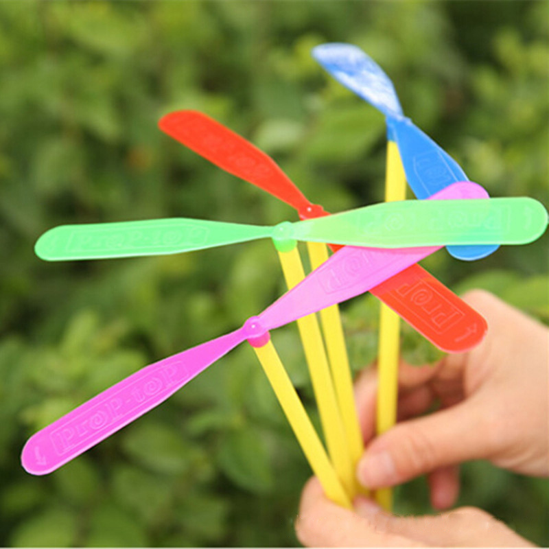 5 Pcs/10Pcs Classic Plastic Bamboo Dragonfly Children Outdoor Toys Classic Fun Propeller Flying Sport Games For Kids Gift