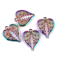 30PCS Rainbow Charms Feather Wings Angel Heart Pendant Charms Handmade Hanging Crafts Jewelry Finding the rainbow feather