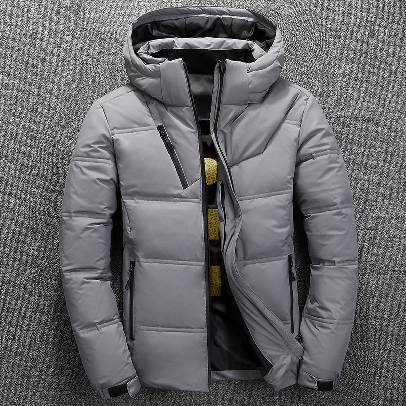 High Quality Men Down Jacket Winter White Duck Down Thick Warm Hooded Casual Coat New Mens Detachable Hat Solid Color Outerwear