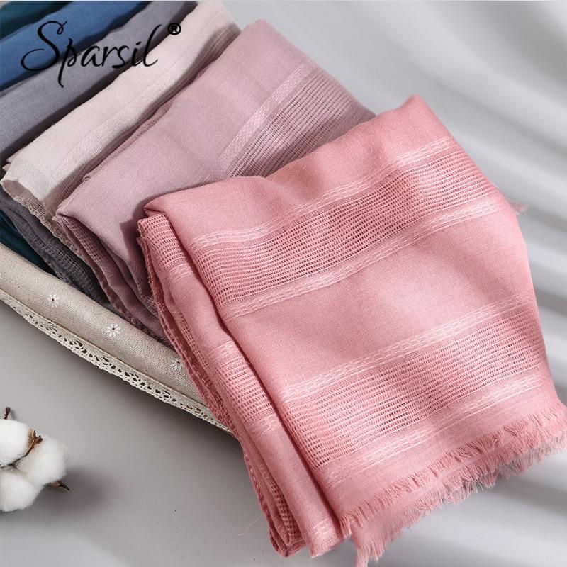 Spring Women Hollow Out Scarf Cotton Solid Color Long Shawl Wrap Hijab Short Tassel Turban Muslim Islamic Headscarf Female90*180