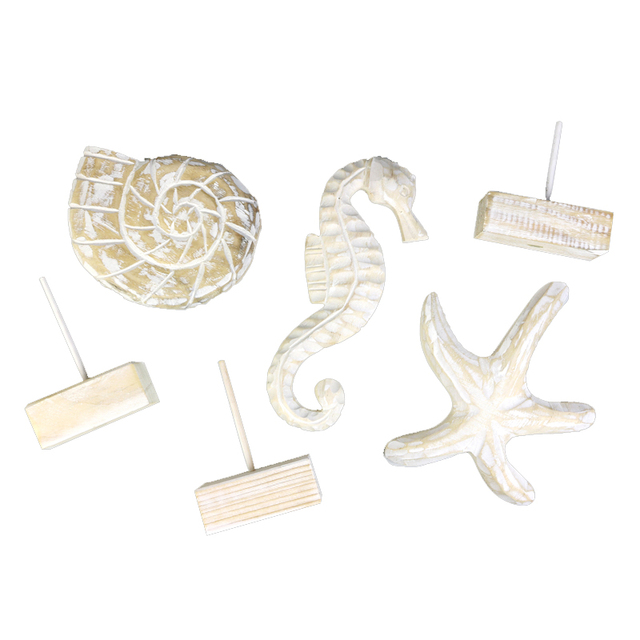 Mediterranean Style Wood Crafts Home Decoration Accessories Wooden Crafts Starfish Conch Hippocampus Wood Carving Marine Decor 6